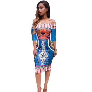 Traditional African Print Dashik  Dress