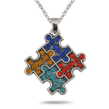 Autism Awareness Jigsaw Puzzle Necklace