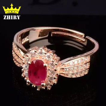Natural Ruby Ring Red Gem Genuine 925 Sterling Silver Precious Stone Woman Fine Jewelry Noble Royal ZHHIRY