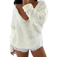 2016 fashion Sexy White V neck Knitted Oversized Sweater Women Long Sleeve Crochet Pullover Jumper Winter Knitwear Pull Femme