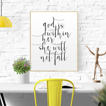 God is within her she will not fall Psalm 46 5 Bible quotes baby girl quote Art wall art christian baby girl room gift Nursery Bible verse