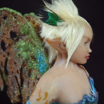 OOAK Art Doll Fairy Faerie  with caterpillar sitting on a polkadot toadstool sculpture