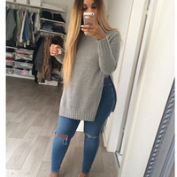 2017 Autumn Winter Knitted Women Casual Sweater Plus Size Knitwear Split Pullover Sweater Autumn Sweaters J4158