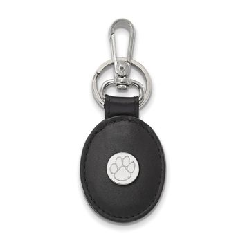 NCAA Sterling Silver Clemson U Black Leather Key Chain