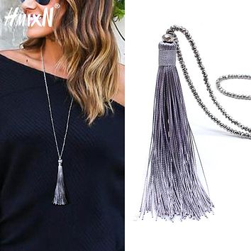 New vintage Boho Long Fringe Tassel Necklaces pendant for Women Collier Femme Glass Beaded Crystal Bohemian Jewelry collar
