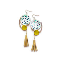 Circle Modern Geometric Earrings, with Mint Dot Pattern and Beige Fringe Tassel | Boo and Boo Factory - Handmade Leather Jewelry