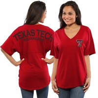 Women's Red Texas Tech Red Raiders Short Sleeve Spirit Jersey V-Neck Top