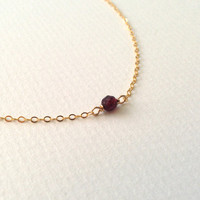 Minimalist Garnet Necklace on Gold Filled Chain - Modern Gemstone Birthstone Necklace, January Birthstone, Gift under 50