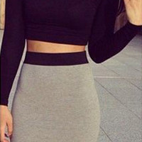 Slim Long Sleeve Crop Top and Bodycon Dress
