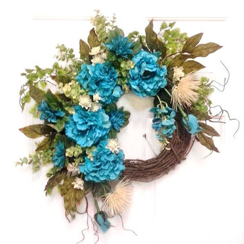 Turquoise and Cream, Silk Floral Wreath, Front Door Wreath, Outdoor Wreath, Grapevine Wreath, Summer Wreath, Spring Wreath