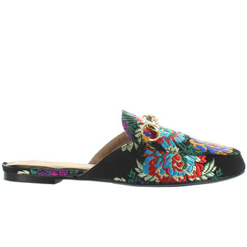 Wanted Florette - Black/Multi Embroidered Satin Loafer Slide