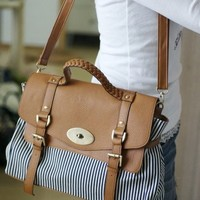 Striped Faux Leather Shoulder Bag