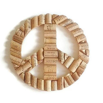 Wine cork peace sign | wine cork crafts | home decor