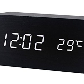 Aubig Digital Clock Square Cube Led Wood Alarm Clock With Time And Temperature Display & Voice Control-White Light