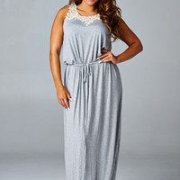Plus Size Lace Neckline Maxi Dress