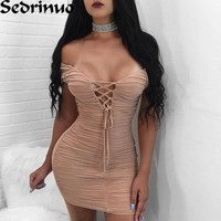 Women Summer Dress Sexy Striped Bandage Bodycon Party Mini Dresses Runway Dresses 2017 Women Off Shoulder V-Neck Club Dress
