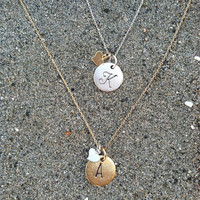 Monogram Necklace, Heart Initial Necklace, Matte gold with silver