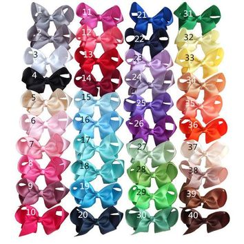ONETOW 4 inch Hair bow Hair clips Children Girl hair accessories Boutique grosgrain ribbon hairbows Hairpins Dancing hair bow 40PCS/LOT