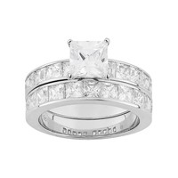 Cubic Zirconia Engagement Ring Set in Sterling Silver (White)