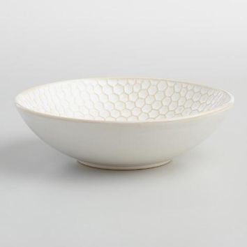 Medium White Textured Stoneware Bowls Set of 4