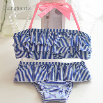 2017 new model cute baby girls swimwear two pieces blue/light green cake layer stripe swimsuit 2-8Y kid/children swimming sw0814