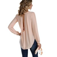 Sale-peach Miss Pretty Chiffon Blouse