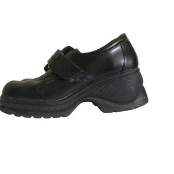 90s Platform Shoe Black Platform Shoe Platform Loafer Vegan Shoe Women Shoe Size 9  90s Grunge Shoe Black Creeper Shoe Women Creeper Rave