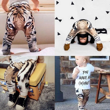 Real Photo!2015 New baby Girls Boys Pants 3D Digital Tiger Printed Baby Harem Pants baby Boy Girl Kids Children Trousers