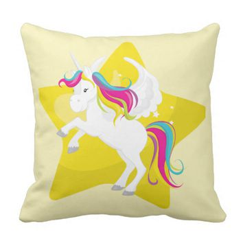 Cute White Unicorn w/Yellow Star Throw Pillow
