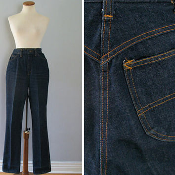 "70s blue jeans - vintage Chic by h.i.s indigo denim high waisted disco wide straight leg dungarees sweetheart yoke retro 1970s YKK 25"" waist"