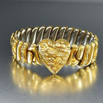 12K Gold Fill Sweetheart Heart Locket Bracelet 1940s