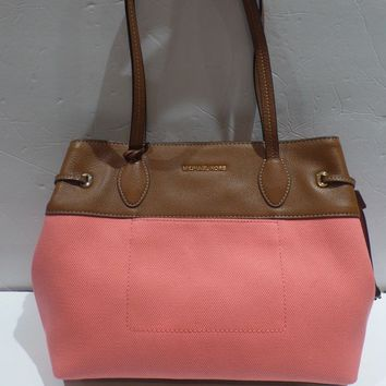 NWT MICHAEL KORS MARINA LARGE E/W TOTE CORAL CANVAS BROWN LEATHER MK BAG PURSE
