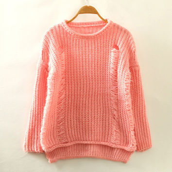 Pink Ripped Accent Casual Sweatshirt