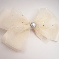 Ivory and Glittery Hair Bow