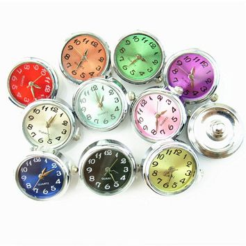 Hot Selling 6pcs Mix 18mm Watch Snap Buttons Charms Fit Ginger Snap Bracelet Women Bangles Necklace Jewelry