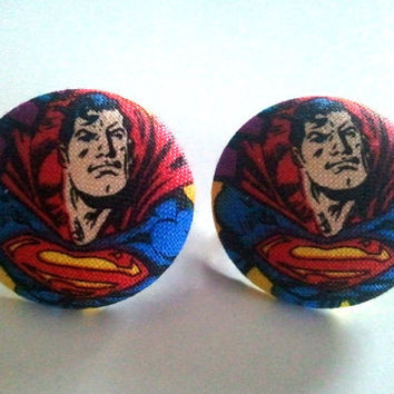 Large Superman portrait button earrings