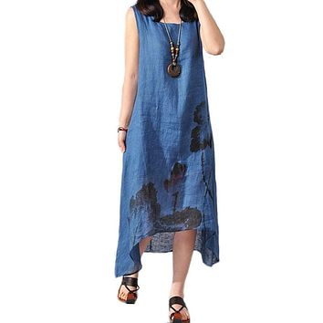 Hot Sale Loosen Women Summer Dress Printed Linen Dresses Sleeveless Long Summer Dress Chinese Oriental Elegant Plus-Size-Dress