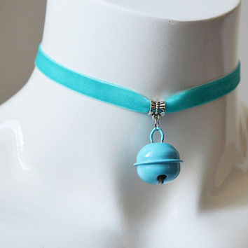 Kitten play day choker - velvet ribbon - turquoise blue with bell - kittenplay ddlg cute necklace for everyday wearing by nekollars
