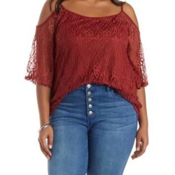 Plus Size Cinnamon Lace Cold Shoulder Top by Charlotte Russe