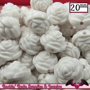 12 FLOWER ROSE BEADS 20mm White Acrylic Flower Beads