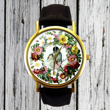 Vintage Love Birds Watch | Floral Watch | Flower Watch | Ladies Watch | Mens Watch | Womens Watch | Gift Idea | Custom Made Watch