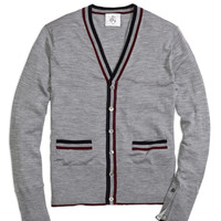 Men's Black Fleece Tipped Cardigan