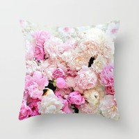 summer peonies Throw Pillow by sylviacookphotography