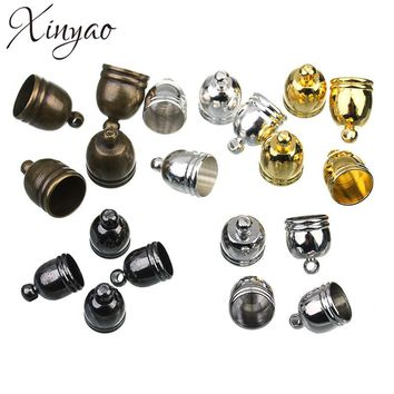 50pcs/lot Hole 6/7/8/9mm Copper DIY Findings Leather Cord Tassel End Caps For Jewelry Making Connectors F1313C