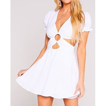 cotton gauze cut out skater mini dress in white