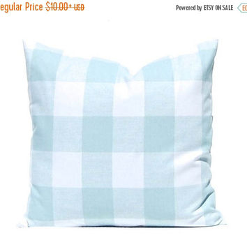 SALE Aqua Pillow Covers, Buffalo Check PIllow Covers, Plaid Pillow Covers, Decorative Pillow Covers, Throw Pillow Covers, Aqua Pillows