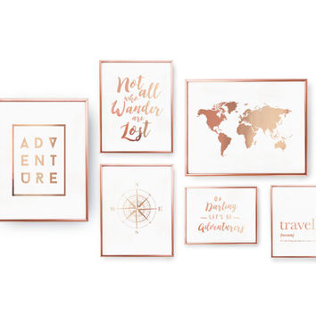 SET of 6 Prints, Travel Prints, Bedroom Decor, Rose Gold Foil Print,Home Decor, Travel Wall Art, Traveler Set Prints,Map, Compass, Adventure