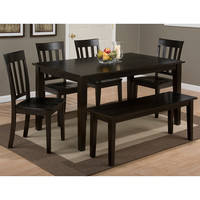 Simplicity Espresso 6 Piece Dining Set - Table 4 Slat Chairs Bench