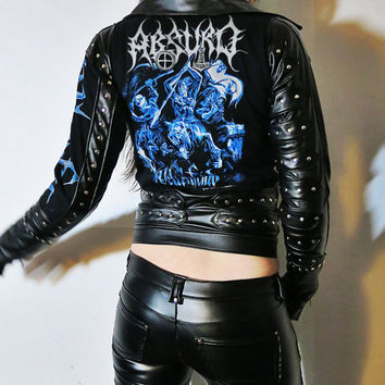 Absurd Weltenfeind Studded Leather Jacket