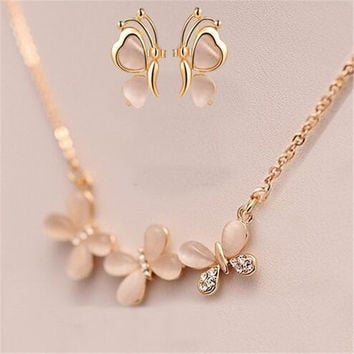 New Arrival Fashion Jewelry Sets Crystal Opal Butterfly Bow Stud Earrings And Necklace Simple Chain Jewelry Sets for Women